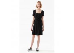 Kısa Kollu Kadın Siyah Elbise (130829-900)
