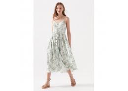 Çiçek Desenli Kadın Beyaz Elbise (130869-30701)