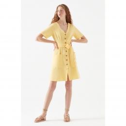 V Yaka Kadın Sarı Elbise (130871-31099)
