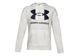Ua Rival Fleece Big Logo Erkek Beyaz Sweatshirt