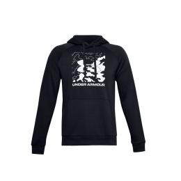Ua Rival Fleece Box Logo Hd Erkek Siyah Sweatshirt