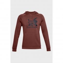 Ua Rival Fleece Box Logo Hd Erkek Bordo Sweatshirt