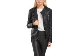 Freya Faux Leather Kadın Siyah Biker Ceket
