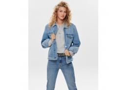 Onlcaroline Ls Faux Fur Kadın Mavi Denim Ceket