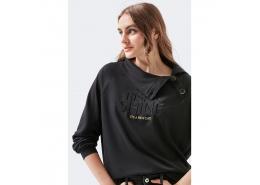 Düğme Detaylı Kadın Siyah Sweatshirt (1600080-900)