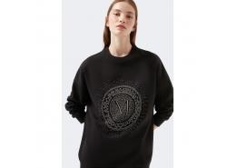 Logo Baskılı Kadın Siyah Sweatshirt (1600367-900)
