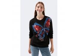 Kelebek Baskılı Kadın Siyah Sweatshirt (1600410-900)