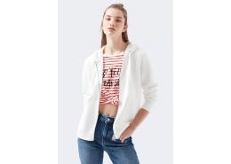 Fermuarlı Kadın Beyaz Sweatshirt (1600419-32158)