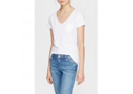 Mavi V Yaka Kadın Beyaz Basic Tişört