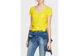 Mavi V Yaka Kadın Sarı Basic Tişört