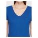 Mavi V Yaka Kadın Kobalt Mavi Basic Tişört