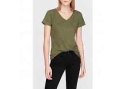 Mavi V Yaka Kadın Koyu Yeşil Basic Tişört