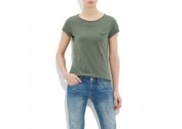 Kadın Basic Yosun Yeşili Tişört (166253-22949)