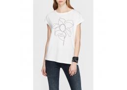 Çiçek Baskılı Kadın Beyaz Tişört (166772-25705)