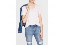 Mavi V Yaka Kadın Lavanta Basic Tişört