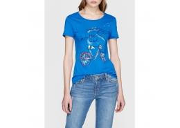 Bisiklet Baskılı Mavi Kadın Tişört