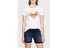 Mavi Jeans Summer Baskılı Kadın Beyaz Tişört