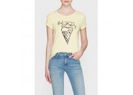 Dondurma Baskılı Kadın Sarı Tişört