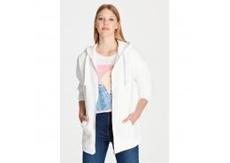Fermuarlı Kadın Beyaz Sweatshirt (167300-620)