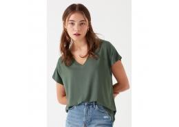 Mavi V Yaka Kadın Yeşil Basic Tişört (oversize)