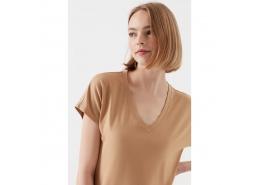 Mavi Kadın Kahverengi Basic T-Shirt