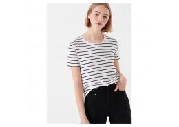 Mavi Siyah Çizgili Beyaz Kadın Tişört