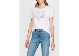 Mavi Jeans Kadın Kedi Baskılı Beyaz Tişört