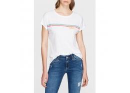 Love Baskılı Kadın Beyaz Tişört (167731-620)