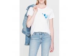 Mavi Jeans Kalp Baskılı Kadın Beyaz Tişört