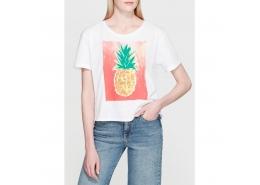 Ananas Baskılı Kadın Beyaz Tişört