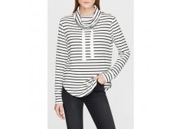 Mavi Jeans Yaka Detaylı Çizgili Kadın Beyaz Sweatshirt