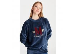 M Logo Baskılı Kadife Kadın Lacivert Sweatshirt