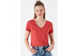 V Yaka Kırmızı Basic Tişört (168260-30734)