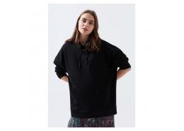 Kapüşonlu Kadın Siyah Sweatshirt (168327-900)