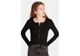 Mavi Jeans Kadın Düğme Detaylı Siyah Tişört