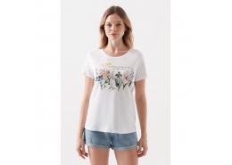 Çiçek Baskılı Kadın Beyaz Tişört(168689-620)
