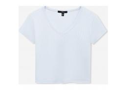 V Yaka Kadın Soft Mavi Crop Tişört