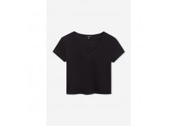 V Yaka Kadın Siyah Crop Tişört (168714-900)