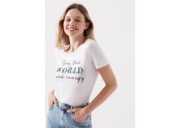 Good Energy Baskılı Kadın Beyaz Tişört