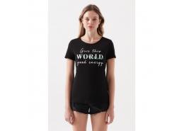 Good Energy Baskılı Kadın Siyah Tişört (168748-900)