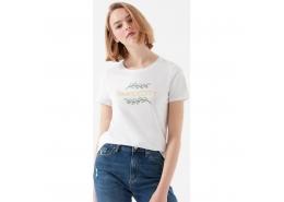 Mavi Jeans Simplycity Baskılı Kadın Beyaz Tişört