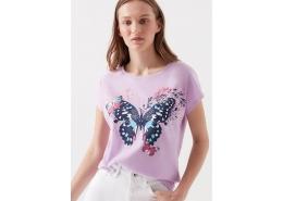 Mavi Jeans Kelebek Baskılı Kadın Lila Tişört