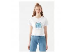 Doğa Dostu There Is No Planet B Baskılı Beyaz Tişört