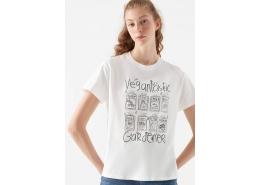 Doğa Dostu Vegantastic Gardener Baskılı Beyaz Tişört