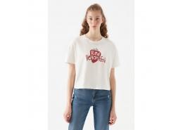 Doğa Dostu Red Veganfesto Baskılı Kadın Krem Tişört