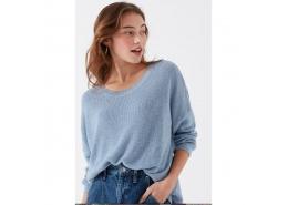 Mavi Jeans Dökümlü Kadın Mavi Triko Kazak