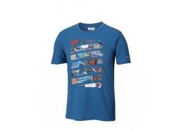 Chilton Cliff Erkek Mavi Baskılı Tişört