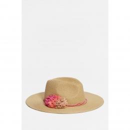 Pembe Çiçekli Kadın Hasır Şapka (196323-21859)