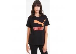 Classics Turuncu Puma Logolu Kadın Siyah Tişört