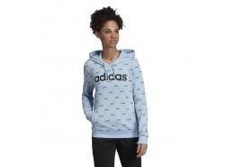 Linear Graphic Kapüşonlu Mavi Sweatshirt
